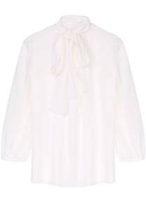 Шелковая блуза прямого кроя с воротником аскот Dolce & Gabbana