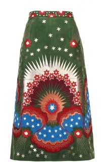 Замшевая юбка-миди с контрастной отделкой Valentino
