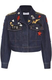Укороченная джинсовая куртка с яркими нашивками Sonia Rykiel