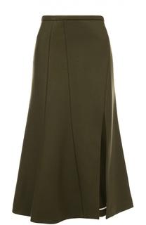 Расклешенная юбка-миди с высоким разрезом Rochas