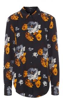 Шелковая блуза прямого кроя с цветочным принтом Theory