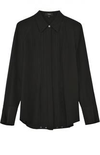 Шелковая блуза прямого кроя с полупрозрачными вставками Theory