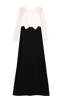 Приталенное платье в пол с полупрозрачными рукавами Tadashi Shoji
