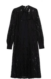 Кружевное приталенное платье с воротником аскот No. 21