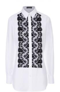 Удлиненная блуза с контрастной кружевной отделкой Dolce & Gabbana
