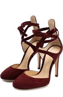 Замшевые туфли Pina на лентах Gianvito Rossi
