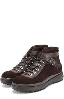 Замшевые ботинки на толстой подошве Giorgio Armani