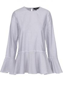 Блуза в полоску с баской и расклешенными рукавами Theory