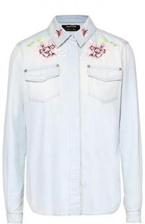 Джинсовая блуза прямого кроя с цветочной вышивкой Roberto Cavalli