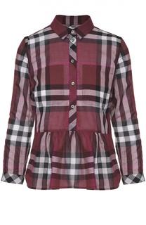 Блуза в клетку с баской и накладными карманами Burberry Brit