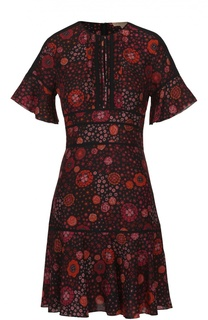 Шелковое мини-платье с коротким рукавом и контрастным принтом Burberry Brit