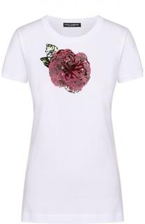 Приталенная футболка с контрастной вышивкой пайетками Dolce & Gabbana