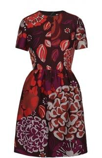 Приталенное мини-платье с контрастным цветочным принтом Burberry