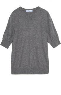 Кашемировый пуловер с укороченным рукавом и перфорацией Blumarine