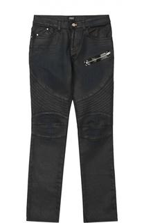Джинсы с декоративным карманом и фактурной отделкой Giorgio Armani