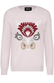 Удлиненный пуловер с контрастным принтом и вышивкой пайетками Markus Lupfer