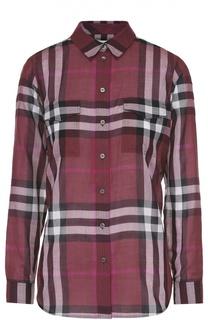 Приталенная блуза в клетку с накладными карманами Burberry Brit