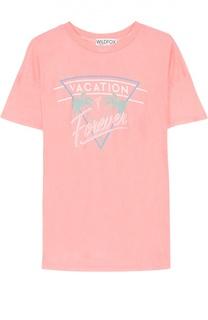 Удлиненная футболка прямого кроя с контрастной надписью Wildfox