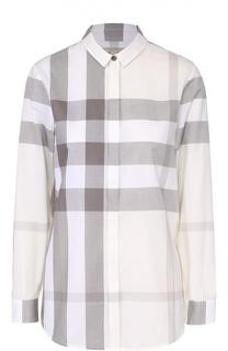 Хлопковая блуза прямого кроя в клетку Burberry Brit