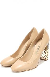 Кожаные туфли на декорированном каблуке Burberry