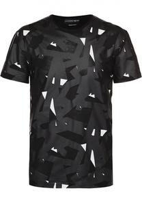 Хлопковая футболка с контрастным принтом Alexander McQueen