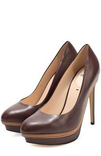 Кожные туфли на шпильке Fendi