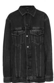 Джинсовая куртка свободного кроя с накладными карманами Denim X Alexander Wang