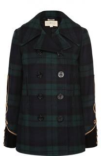 Укороченное двубортное пальто в клетку с контрастной отделкой Denim&Supply by Ralph Lauren