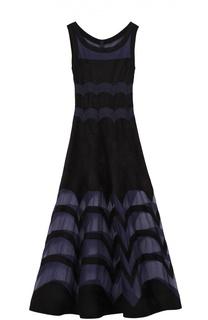 Приталенное платье-макси с полупрозрачными вставками Alaia