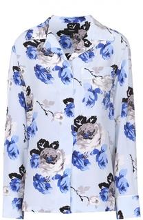 Шелковая блуза в пижамном стиле с цветочным принтом Theory
