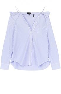 Хлопковая блуза в полоску с открытыми плечами Theory