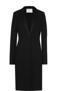Приталенное пальто с декорированными лацканами HUGO