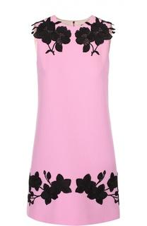 Мини-платье прямого кроя с контрастной цветочной отделкой Dolce & Gabbana