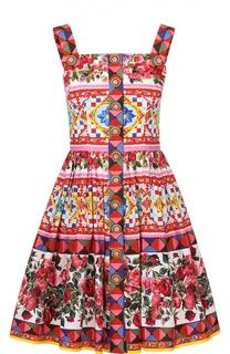 Мини-сарафан с пышной юбкой и ярким принтом Dolce & Gabbana