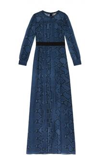 Шелковое платье в пол с контрастным поясом Burberry
