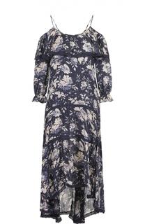Платье асимметричного кроя с открытыми плечами и цветочным принтом Denim&Supply by Ralph Lauren