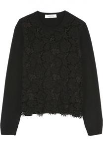Укороченный пуловер с кружевной отделкой Valentino
