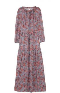 Приталенное платье макси с контрастным принтом Escada Sport