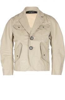Куртка с декоративными потертостями и накладными карманами Dsquared2