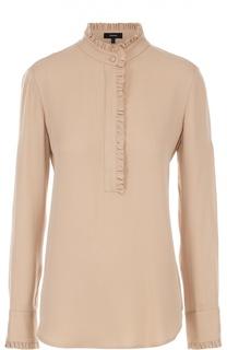 Шелковая блуза прямого кроя с воротником-стойкой Theory