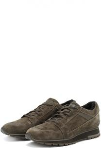 Замшевые кроссовки на шнуровке Santoni