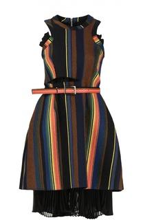 Приталенное мини-платье с полупрозрачной вставкой Sacai