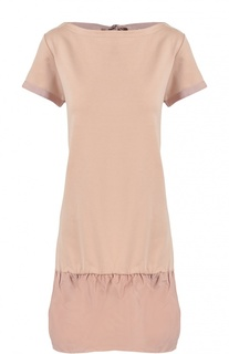 Мини-платье прямого кроя с широкой оборкой Moncler