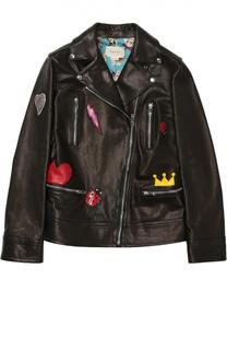 Кожаная куртка с косой молнией и контрастной отделкой Gucci