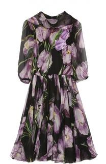 Шелковое мини-платье с цветочным принтом и воротником аскот Dolce & Gabbana