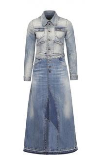 Джинсовое удлиненное пальто с накладными карманами Roberto Cavalli