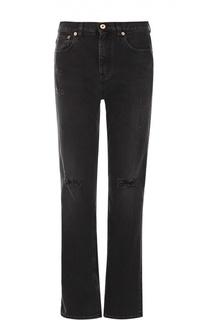 Укороченные джинсы прямого кроя с потертостями Roberto Cavalli