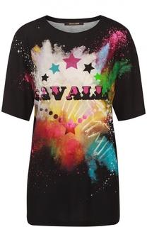 Удлиненная футболка прямого кроя с ярким принтом Roberto Cavalli