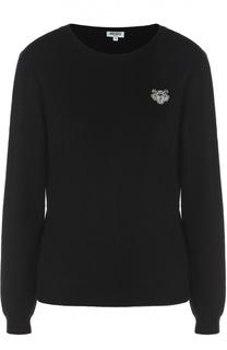Кашемировый пуловер с вышитым логотипом бренда Kenzo