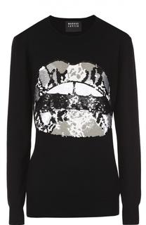 Удлиненный пуловер с контрастной вышивкой пайетками Markus Lupfer